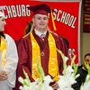 James Descoteaux receives one of the 21 Gold F Awards during the 150th Fitchburg High graduation ceremony on Friday afternoon. SENTINEL & ENTERPRISE / Ashley Green