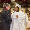 Ebony Fagan receives her diploma during the 150th Fitchburg High graduation ceremony on Friday afternoon. SENTINEL & ENTERPRISE / Ashley Green