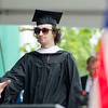 Joshua McKelvie, of Fitchburg, receives his degree during the 120th commencement ceremony at Fitchburg State University on Saturday afternoon. SENTINEL & ENTERPRISE / Ashley Green