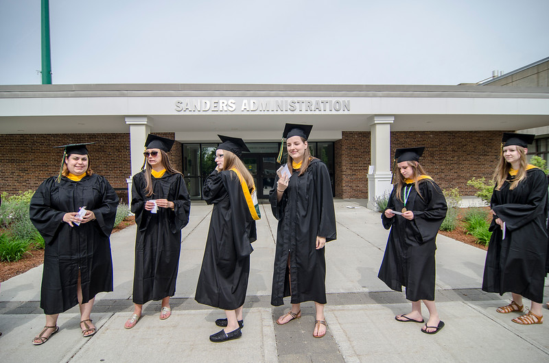 Graduates line up prior to the 120th commencement ceremony at Fitchburg State University on Saturday afternoon. SENTINEL & ENTERPRISE / Ashley Green