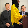 Fitchburg State University student Aimee Mutimukeye gives a presentation in a business course that is running a CEO simulation class, Friday.<br /> SENTINEL & ENTERPRISE / BRETT CRAWFORD