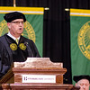 State Representative Stephan Hay addresses the graduates during the Fitchburg State University graduate commencement ceremony on Thursday evening. SENTINEL & ENTERPRISE / Ashley Green