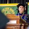 President Richard Lapidus addresses the students during the graduate commencement ceremony at Fitchburg State University on Thursday evening. SENTINEL & ENTEPRISE / Ashley Green