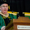 Martin Connors Jr., Chairman of the Board of Trustees, addresses the students during the graduate commencement ceremony at Fitchburg State University on Thursday evening. SENTINEL & ENTEPRISE / Ashley Green