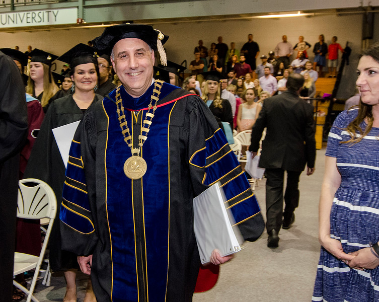 Dr. Richard Lapidus enters his first graduate commencement ceremony as President of Fitchburg State University on Thursday evening. SENTINEL & ENTERPRISE / Ashley Green