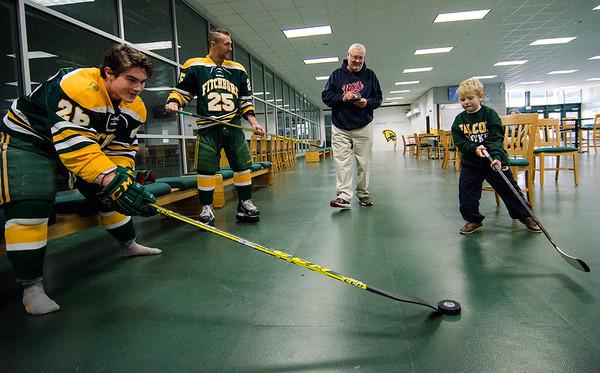 Hunter Specht visits FSU hockey practice