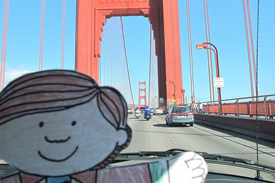 Flat Stanley crossing the Golden Gate Bridge