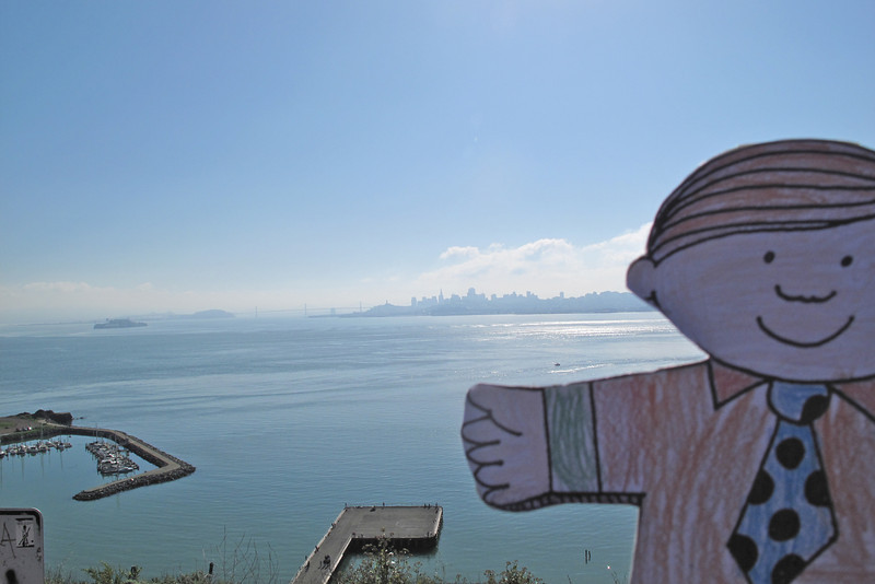 Flat Stanley views San Francisco from the other side of the bay