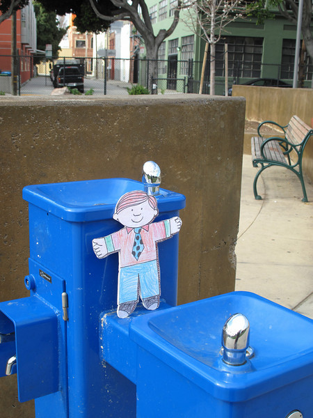 Flat Stanley gets a drink of water at the dog park.