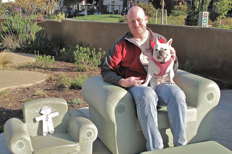 Flat Stanley, Craig & Decker in the concrete chairs at the park.