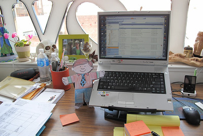 Flat Stanley on Aunt Laurie's desk
