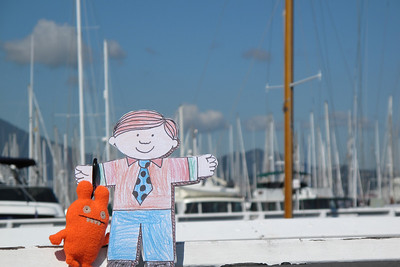 Flat Stanley and Ugly Doll in Sausalito