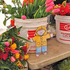 Flat Stanley buys fresh flowers at the Civic Center Farmers Market in San Francisco