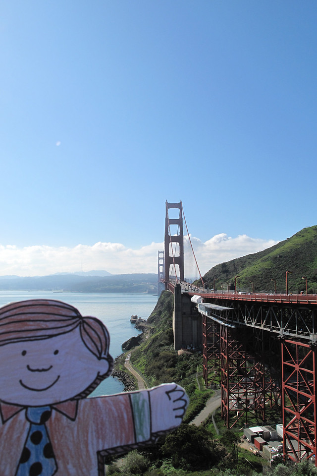 Flat Stanley looks out over the Golden Gate Bridge