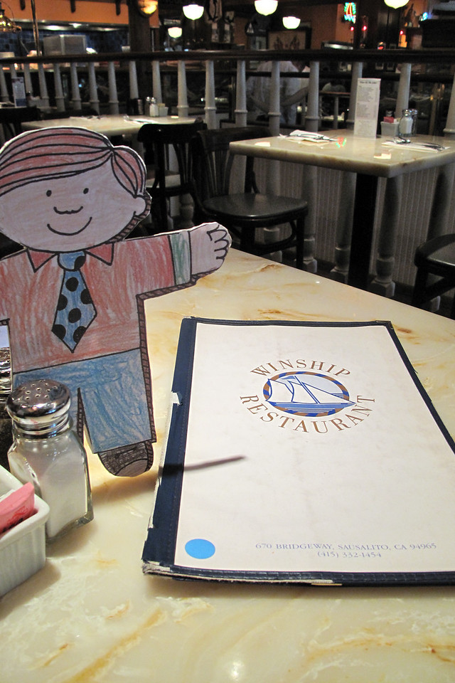 Flat Stanley has breakfast at Winship Restaurant in Sausalito