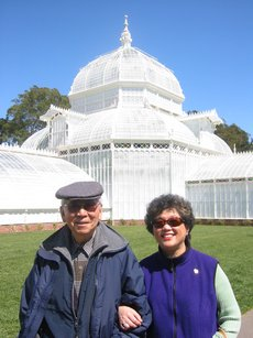 Mom and Grandpa at Golden Gate Park's conservatory, which was unfortunately closed.