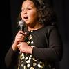 Jaylynn Pridgen, a 5th grade student, sings America the Beautiful during the International Night at Frances Drake Elementary on Thursday evening in Leominster. SENTINEL & ENTERPRISE / Ashley Green