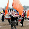 Don Knight | The Herald Bulletin<br /> A member of Frankton's color guard performs during State Fair Band Day competition on Saturday.