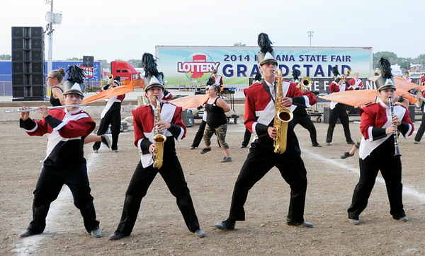 Don Knight | The Herald Bulletin<br /> The Frankton Marching Ealges perform after making it into the sweet 16 during State Fair Band Day competition on Saturday.