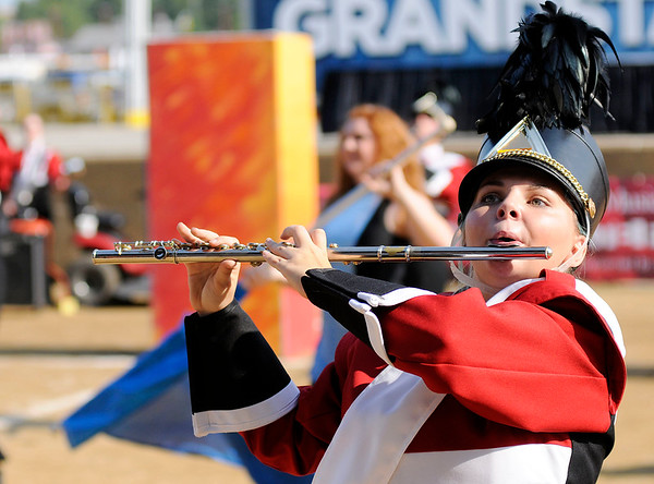 Don Knight | The Herald Bulletin<br /> Skylar Bowling performs with the Marching Eagles during Indiana State Fair Band Day on Saturday.