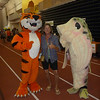 RIT mascot (tiger), Mom (Barbara) and guy in fish costume... warning kids not to get hooked by phishing scams.