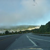 7 a.m. Route 17 westbound, fog in the hills.
