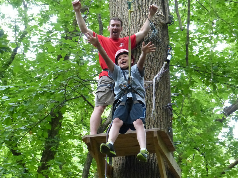 A Germantown Academy camper takes a ride on the zipline. Photo courtesy of Germantown Academy Summer Programs.