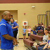 Former Indianapolis Colts player Gary Brackett visited St. Mary's Elementary School.