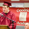 Student speaker Jacob MacDonald speaks during the Goodrich Academy graduation ceremony held at Fitchburg High School on Thursday evening. SENTINEL & ENTERPRISE / Ashley Green