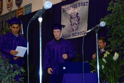 Cody Roark, center, helped pass out diplomas.