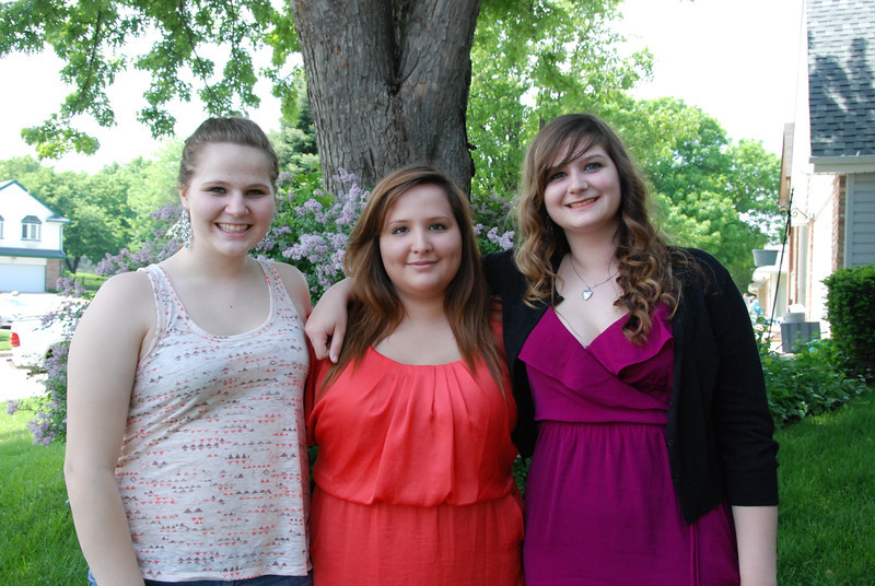 The triplets, from left: Morgan, Christine and Sarah.