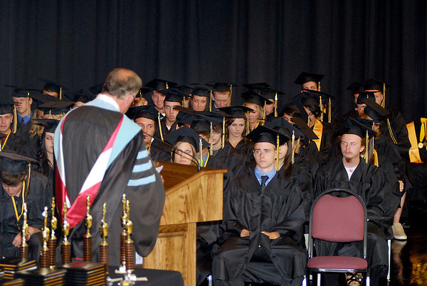 School Superintendent Paul Garrison gives his message to the class of 2012 of Daleville High School.