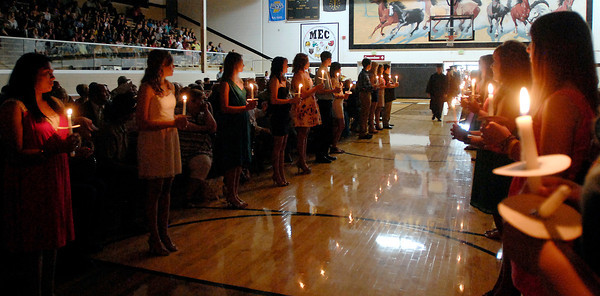 The Daleville High School graduation started with the processional through a line of candlelight.