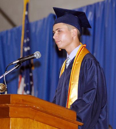 The 2012 Shenandoah High School Commencement.  Valedictorian Matthew Roeder addresses his classmates.