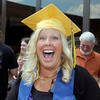 The 2012 Shenandoah High School Commencement.  Mother of graduate Rachel Rushton, Christy Rushton, is surprised by being photographed as she tried on her daughter's graduation cap.