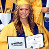 The 2012 Shenandoah High School Commencement.  Graduate Rachel Lynn Rushton proudly shows off her diploma.