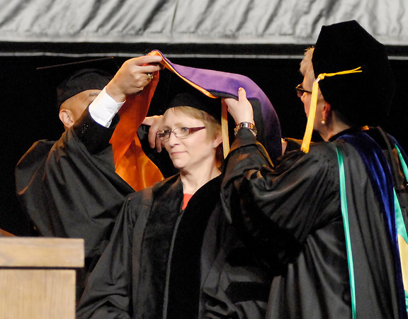 John P. Cleary   The Herald Bulletin<br /> Lt. Governor of Indiana Susan Ellspermann is conferred with the honorary degree of Doctor of Laws during the 96th Commencement of Anderson University.