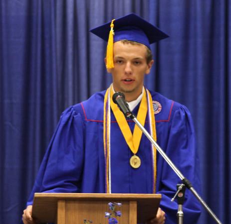 Chris Martin for THB<br /> Valedictorian Dakin Updegraff addresses Elwood's graduating class of 2014 Sunday