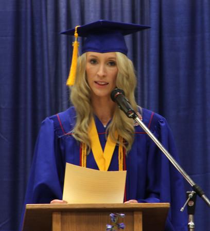 Chris Martin for THB<br /> Salutatorian Emily Gaffney delivers a speech to Elwood's 2014 graduating class Sunday