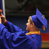 Chris Martin for THB<br /> Senior Class President Derek Haas takes a selfie from the podium with the entire class of 2014 Elwood graduates behind him.
