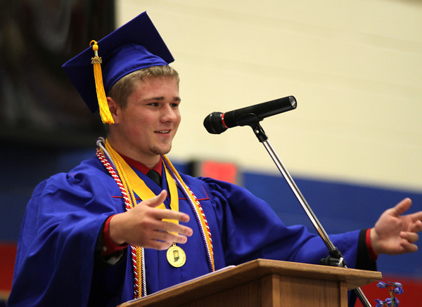Chris Martin for THB<br /> Elwood's Senior Class President Derek Haas addresses the 2014 graduating class Sunday