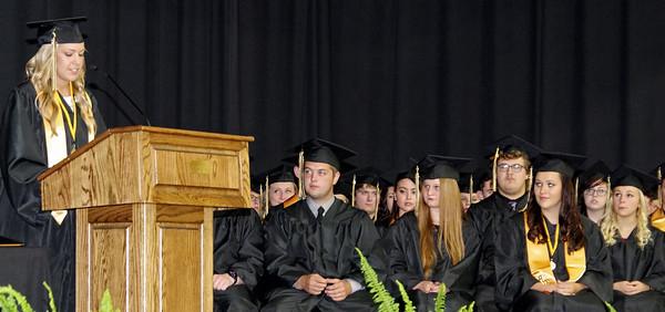 Danielle Johnson, class Secretary, addresses her fellow Daleville graduates.