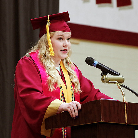 Mark Maynard | for The Herald Bulletin<br /> Alexandria High School Class of 2017 Valedictorian Grace Brenner addresses her fellow graduates during commencement on Friday evening.