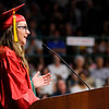 Don Knight | For The Herald Bulletin<br /> Elliana Kirkpatrick , quoting Ralph Waldo Emerson, encourages her classmates to hitch their wagons to the stars as she gives the commencement address during Anderson High School's graduation on Tuesday.