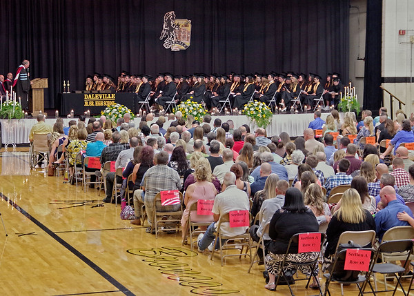 Mark Maynard | For The Herald Bulletin<br /> As School Superintendent Paul Garrison speaks the Daleville High School Class of 2017, a large group of friends and family were on hand to support the graduates.