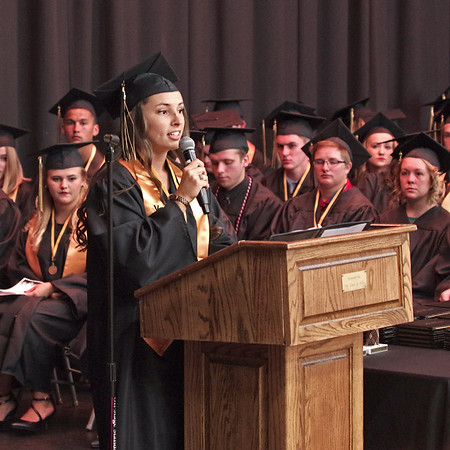 Mark Maynard | For The Herald Bulletin<br /> Daleville High School Class of 2017 President Krystal Watters welcomes everyone to commencement ceremonies on Friday night.