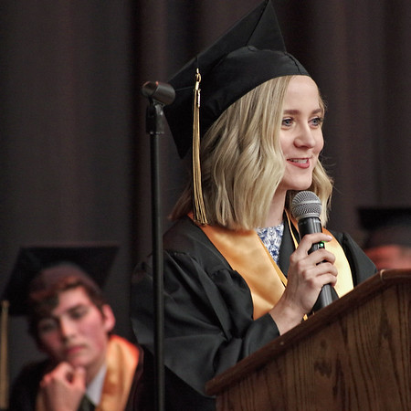 Mark Maynard | For The Herald Bulletin<br /> Salutatorian Kennedy Woodward speaks to her fellow members of the Daleville Class of 2017 during graduation ceremonies at the high school on Friday evening.