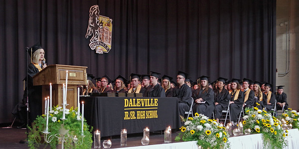 Mark Maynard | For The Herald Bulletin<br /> Salutatorian Kennedy Woodward addresses the 70-member graduating Class of 2017 at Daleville High School.