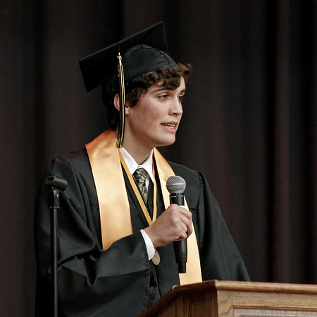 Mark Maynard | For The Herald Bulletin<br /> Damen Wilson, Valedictorian of the Daleville Class of 2017, delivers his address.