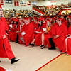 Don Knight | The Herald Bulletin<br /> Gavin Sizelove walks back to his seat after receiving his diploma during Frankton's Commencement on Friday.
